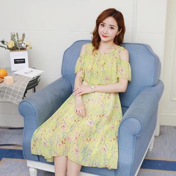 Summer Fashion Maternity Nursing Cover Dress Floral Print Chiffon Clothes for Pregnant Women Elegant Beach Boho Pregnancy