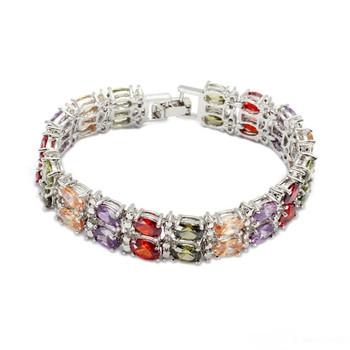 SHUNXUNZE sumptuous fashion Wedding charms bracelet Jewelry for women Morganite Blue Peridot Purple Red Cubic Zirconia Rhodium Plated