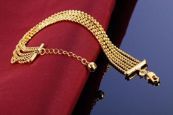 Fashion 18K Gold Cuban Charm Bracelets 5 Lines For Mens And Women Lovers Gift Hiphop Jewelry Top Quality Link Chain