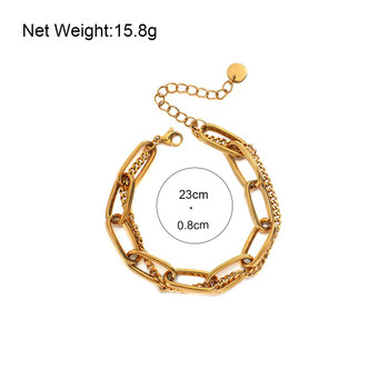 Amorcome Simple Multilayer Stainless Steel Chain Bracelet for Women Fashion Punk Thick Gold Plated Metal Bangle Party Unisex Jewelry Couple Gifts