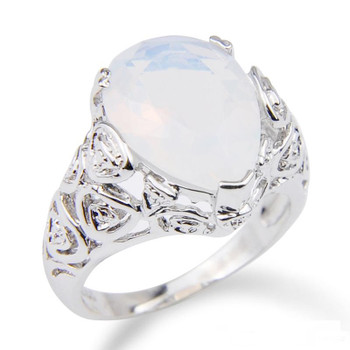 Lucky Shine Easter BIG Popular Style Moonstone Oval Teardrop Shaped Silver Plated Wedding Rings for lovers Two options R0058 R0345