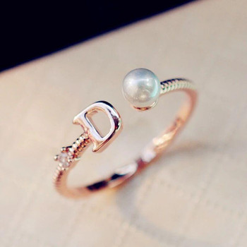 2021 European Brand Gold Plated Letter D Ring Fashion Pearl Ring Vintage Charms Rings for Wedding Party Vintage Finger Ring Costume Jewelry