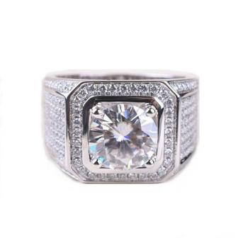 Stunning Handmade Fashion Jewelry 925 Sterling Silver Popular Round Cut White Topaz CZ Diamond Full Gemstones Men Wedding Band Ring Gift