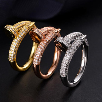 Donia jewelry luxury ring exaggerated European and American fashion nail copper micro-inlaid zircon creative designer gift