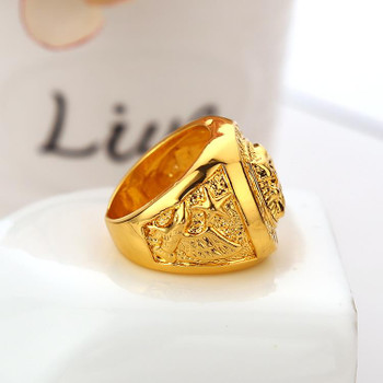 High quality HIP HOP lion head ring Men's liion face Ring 24K GP Yellow Gold Ring for Men Size 7, 8,9 10,11