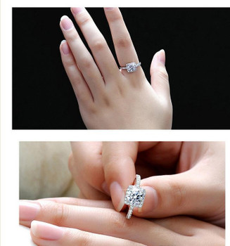 Top selling 925 Sterling Silver Wedding Party Rings with cubic zirconia Ring Fit Suit Women Pandora fine jewelry