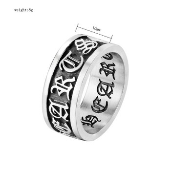 Men Punk Vintage Band Rings fashion individuality carving motorcycle titanium Stainless Steel cross Trend Hip Hop Ring jewelry accessories size 7-12