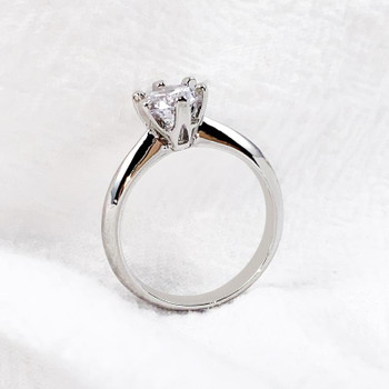 Classic Design Charm Wedding Rings Woman Promise Eternal Love Zircon Ring For Women Fashion Dainty Engagement Jewelry Wholesale 2 Color Silver Rose Gold With Box