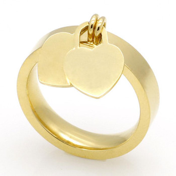 Fashion jewelry 316L titanium gold-plated heart-shaped rings T letter letters double heart ring female ring for woman