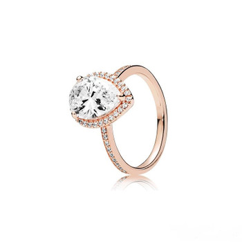 Luxury 18k Rose gold Tear drop Wedding RING Original Box for Pandora 925 Sterling Silver Teardrop Women designer Jewelry Ring set