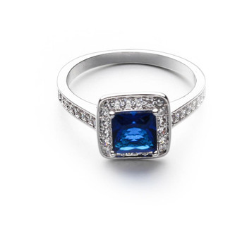 Wedding Engagement Blue CZ Cubic Ziron Stone platinum plating ring Fashion Party Women