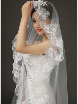 3M White Ivory Cheap Women Wedding Veil Two Layers Soft Tulle Ribbon Edge Bridal Veils Short Veil for Wedding Accessories High Quality D4