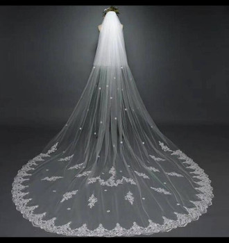 Two layers Long Bridal Veils White Tulle Lace Applique Wedding Dress Veil for Wedding Accessories