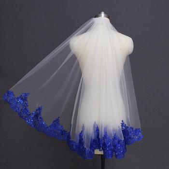 Royal Blue Sequined Lace White Ivory Bridal Veil One Layer Short Shine Wedding Veil with Comb Velos de Novia