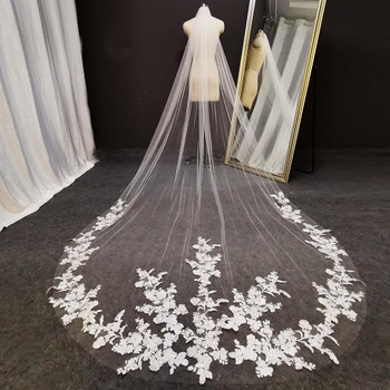 New Lace Cathedral Wedding Veil Soft Tulle Romantic 3 Meters Long White Ivory Bridal Veil with Comb Bride Veil 2021
