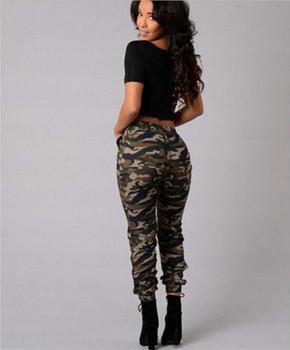Elastic Waist Drawstring Ankle Banded Pants Fashion Street Style Women Trousers Women Camouflage Pencil Pants Plus Size