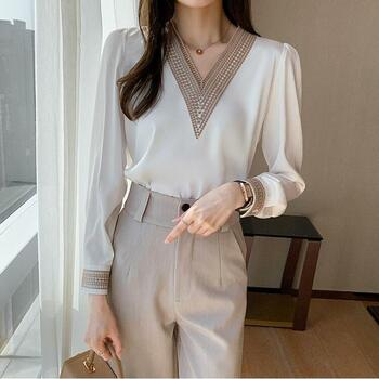 Women's Blouses & Shirts Long Sleeve White Blouse Tops Women Blusas Mujer De Moda 2021 Embroidery V-Neck Chiffon Shirt