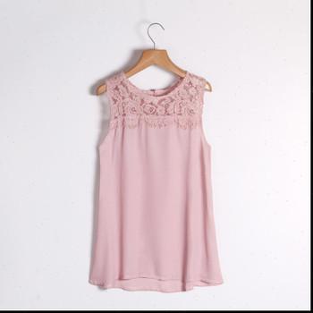 Out Chiffon Shirt Loose Large Women Shirts Size Solid Lace Stitching Round Neck Sleeveless Sexy Hollow Summer Fashion Casual