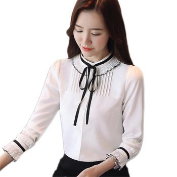Women's Blouses & Shirts Spring Chiffon Blouse 2021 Women Tops And Shirt Fashion Bowknot Pleated Long Sleeve Female