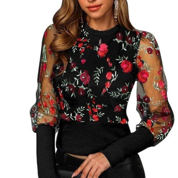 Spring Autumn Women Floral Embroidery Mesh Sheer See-through Long Sleeve Blouse O-Neck Tops Shirts Blusas