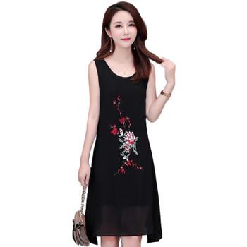 Women Embroidery Flower Chiffon Sleeveless O-neck A-line Irregular Plus Size White Black Red Daily Wear Cocktail Dress