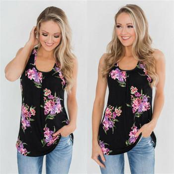 Shirt Ladies Blouse Blouse 2021 New Boho Top Sleeveless Loose Summer Shirts Beach Holiday Loose Casual Women's Floral Printed