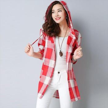 Women's Blouses 2935 Plaid Hooded Shirt Women Long Sleeve Casual Cotton Linen Tunics Loose Elegant Female Korean Style