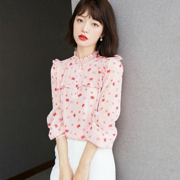 Floral Shirt Chiffon Girl Blouse 2021 Hot New Autumn Ruffle Shirt Fashion Retro Ladies Shirt Long Sleeve Casual Blouse