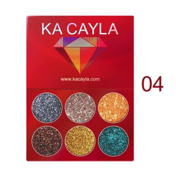 KA CAYLA 6 color diamonds, sequins, eye shadow plates, shiny golden onion powder, gloss, eye shadow, shiny Eyeshadow