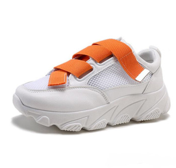 Breathable mesh sports shoes women 2021 new thick-soled summer tie with muffin bottom casual shoes
