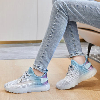 New Women Jelly Sole Sneakers Casual Sport Shoes Female Anti-Slip Flat Sneakers Breathable Flying Woven Soft Stick Bottom Shoes