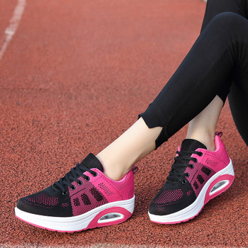 New Women Cushioning Sneakers Comfortable Flying Woven Rocking Trainers Ladies Trendy Breathable Outdoor Walking Causal Footwear