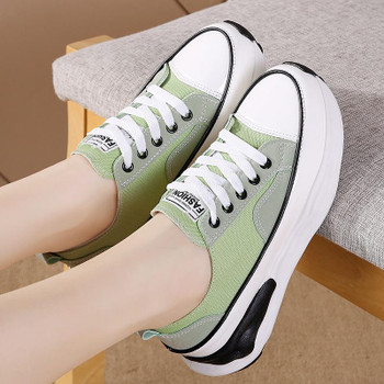 Fashion Women Thick Bottom Canvas Shoes Lace-Up Comfortable Height Increasing Walking Footwear Female Flat Platform Zapatos Femm