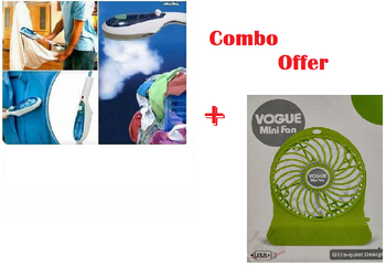 Tobi portable Travel Steamer Steam Iron Wrinkle Remover Machine for Cloths + Vogue Mini Desktop Fan