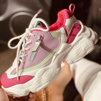 Women Chunky Sneakers Female Lace Up Platform Vulcanized Ladies Zip Breathable Comfort Flat Woman Casual Walk Shoes Plus Size