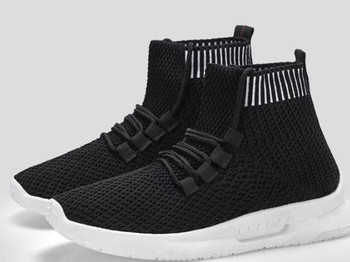 High-top elastic flying woven breathable socks shoes female trend Korean version of the wild student casual shoes sports knit white shoes