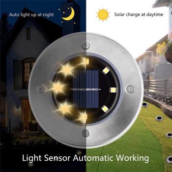 8 LED Solar Lawn Lamp Buried Light Under Ground Lamp Outdoor Path Way Garden Decor Outdoor Lighting