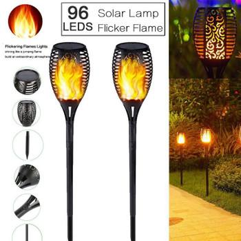 96 LED Solar Power Torch Light Flickering Flame Garden Waterproof Yard Lamp Light Waterproof Solar Powered Sunlight for Garden Decoration