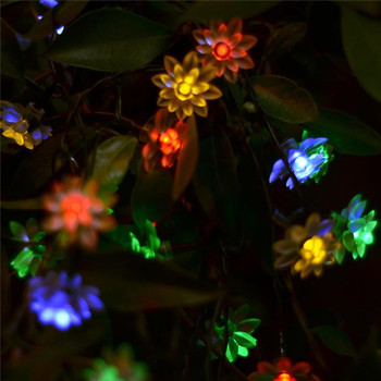 55.8ft Warm And Romantic Wedding Christmas Decorative Solar Double Lotus Multicolor String Lights Sunflower lamp