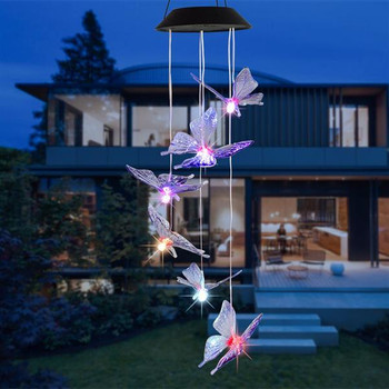 2V 40maH Solar Intelligent Light Control Design and Color Shell Butterfly Wind Chime Corridor Decoration Pendant 6 F5 Lamp Beads Black