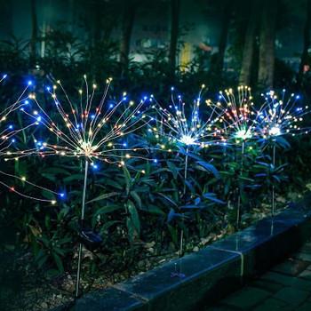 90/120/150LED Solar Light lamps Outdoor Grass Globe Dandelion Waterproof Flash String Lights Lawn Firework Lamp Garden Christmas Deco