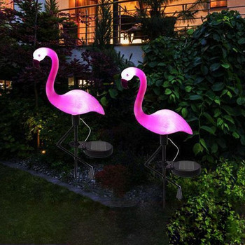 Flamingo Solar Stake Light Solar Powered Path Lights Flamingo Lawn Lamp For Garden Pathway Yard Walkway Pink Color