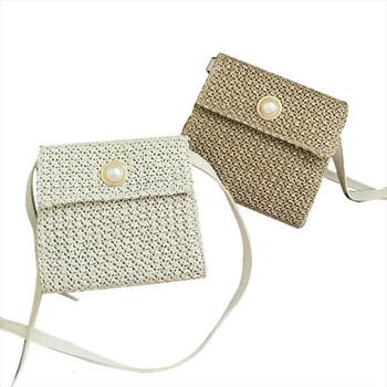 Women's Fashion Straw Bag Bohemian Rattan Hand Woven Cross body Bag Pearl Candy Handbag Beach Bag