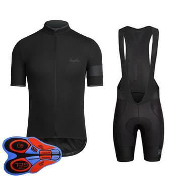 Rapha team Cycling Short Sleeves jersey (bib) shorts sets uniform MTB Ropa Ciclismo men's Maillot Culottes 9D gel pad Bicycle Outfits