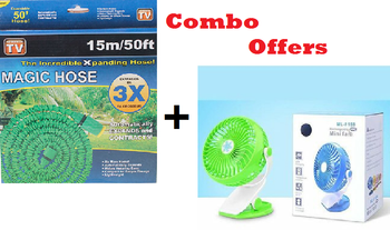 Magic hose water spray pipe with nozzle Jet Spray Pipe 15m 50ft + Mini USB Fan Rechargeable Ml-F168