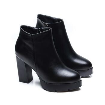 Autumn Winter Women Ankle Boots High Heels Chunky Heels Platform PU Leather Short Booties Black Ladies Shoes Good Quality