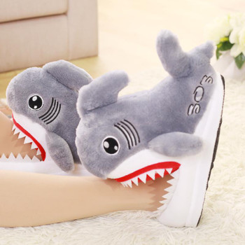 2021 winter cute cartoon shark cotton slippers women's non-slip thick sole warm personality plush home 35-42