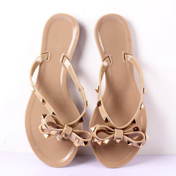 Women Summer Fashion Beach shoes, Flip-flops jelly Casual sandals ,flat bottomed slippers ,bowknot ,Rivets, Beach Shoes