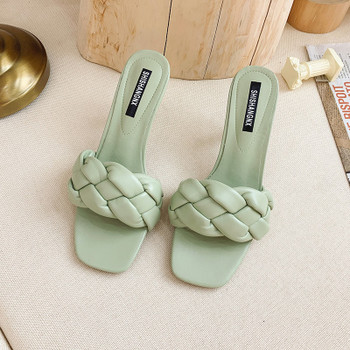 New Design Weave Women slipper Ladies Thin High Heel Sandal Open Toe Slip On Summer Outdoor Slides Flip Flop Shoe