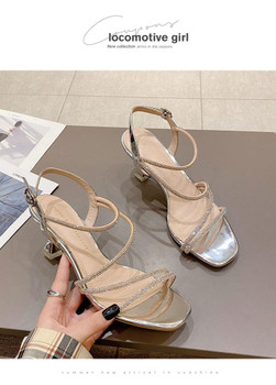 Summer 2021 web celebrity Crystal High Heel Sandal for women with open toe 6cm